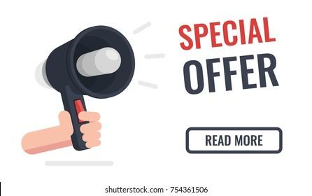 Special offer horizontal banner, hand hold speaker, digital advertising concept flat vector illustration isolated on white background