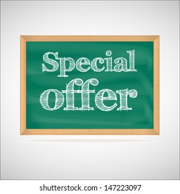 Special offer - the inscription chalk on the green chalkboard in a wooden frame