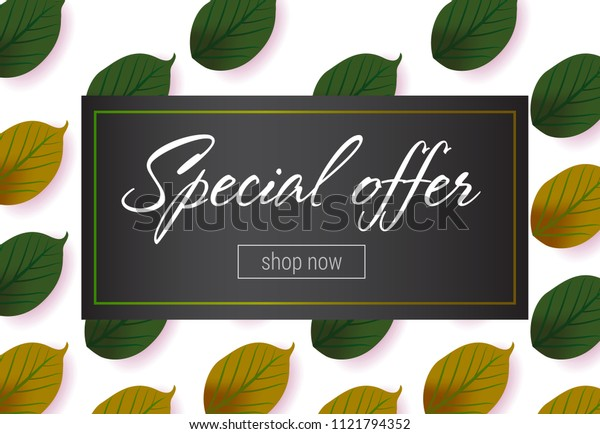 Special offer lettering with green leaves pattern. Autumn offer or sale advertising design. Handwritten and typed text, calligraphy. For leaflets, brochures, invitations, posters or banners.