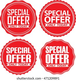 Special offer only today red signs set, vector illustration