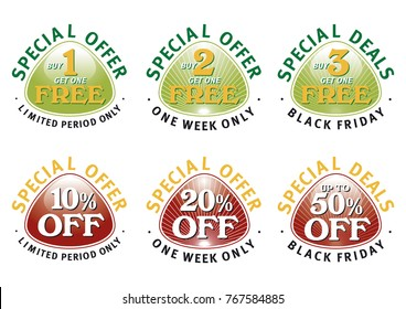 Special Offer Oval Triangles, Buy One Get One Free, 10% Off editable vector graphic design device.