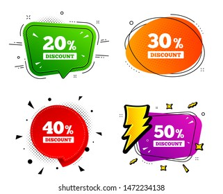 Special offer price signs. Banner badges, various colors. Sale discount icons. 20, 30, 40 and 50 percent off reduction symbols. Chat bubble vector shape. Gradient banner. Price tag. Vector