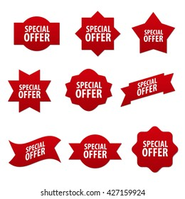 special offer red advertising stickers and banners