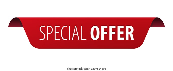 Special Offer red rounded ribbon banner icon isolated on white background. Vector illustration