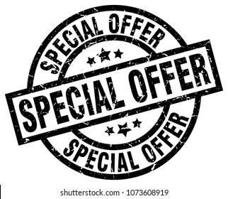 special offer round grunge black stamp