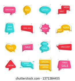 Special offer sale banner. Big mega discount icons. Set of speech bubbles. Color chats frames for your design. Vector illustration.