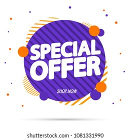 Special Offer, sale banner design template, discount app icon, vector illustration