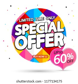 Special Offer, Sale banner design template, up to 60% off, limited time only, Valentines Day discount tag, vector illustration