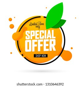 Special Offer, sale banner design template, Summer discount tag, app icon, vector illustration