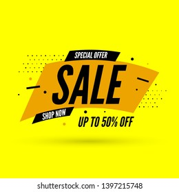 Special offer sale banner with shadow, up to 50% off. Vector illustration.