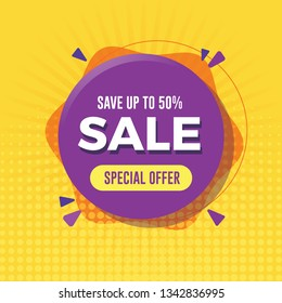 Special offer sale banner with yellow background