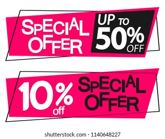 Special offer, sale banners design template, 10% up to 50% off, discount tags, vector illustration