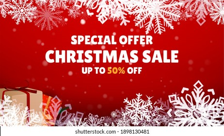 Special Offer Sale. Christmas Shop Now. Many Different New Year Gifts on The Festive Background. Merry Christmas and Happy New Year. Colored. Winter Holidays Set Realistic gifts. Vector Illustration