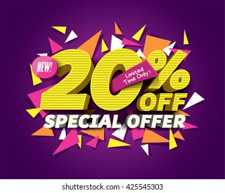 Special Offer Sale concept with abstract triangle elements.