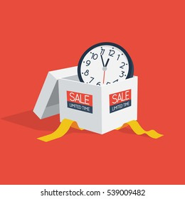 Special offer sale discount symbol with open gift and wall watch isolated on red background. Easy to use for your design with transparent shadows.