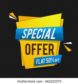 Special Offer Sale with Flat 50% Off, Creative Poster, Banner or Flyer design, Vector illustration.