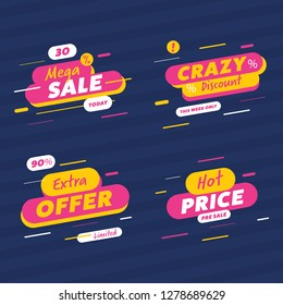 Special offer sale label and discount banners with 30% off label and differnet sale tags and banners.