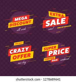 Special offer sale label and discount banners with extra sale label and crazy offer