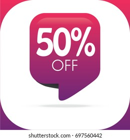 Special offer sale rectangle purple pink tag isolated vector illustration. Discount offer price label, symbol for advertising campaign in retail, sale promo marketing, 50% off discount sticker