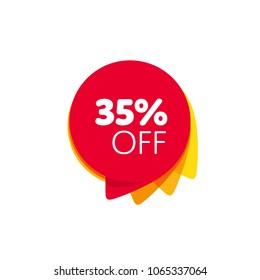 Special offer sale red tag isolated vector illustration. Discount offer price label, symbol for advertising campaign in retail, sale promo marketing, 35% off discount sticker, ad offer on shopping day