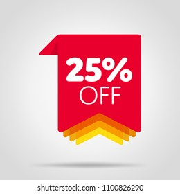 Special offer sale red tag isolated vector illustration. Discount offer price label, symbol for advertising campaign in retail, sale promo marketing, 25% off discount sticker, ad offer on shopping day