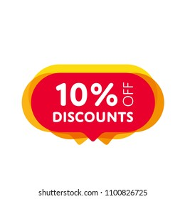 Special offer sale red tag isolated vector illustration. Discount offer price label, symbol for advertising campaign in retail, sale promo marketing, 10% off discount sticker, ad offer on shopping day