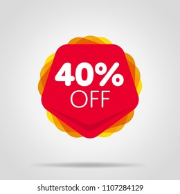 Special offer sale red tag isolated vector illustration. Discount offer price label, symbol for advertising campaign in retail, sale promo marketing, 40% off discount sticker, ad offer on shopping day