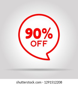 Special offer sale red tag. This is the concept of the price list for discounts, of an advertising campaign, advertising marketing sales, a 90% off discount, a unique offer. Vector illustration.