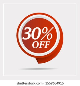 Special offer sale red tag. Discount with the price is 30% . This is the concept of the price list for discounts, of an advertising campaign, advertising marketing sales,