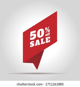 Special offer sale red tag. This is the concept of the price list for discounts, of an advertising campaign, advertising marketing sales, a 50% off discount, a unique offer. Vector illustration.