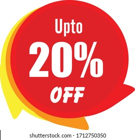 Special offer sale red tag isolated vector illustration. Discount offer price label, symbol for advertising campaign in retail, sale promo marketing, 20% off discount sticker, ad offer on shopping day