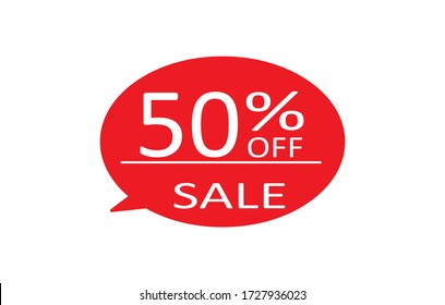 Special offer sale red tag isolated vector illustration. Discount offer price label,symbol for advertising campaign in retail, sale promo marketing,50% off discount sticker,50% off discount promotion.
