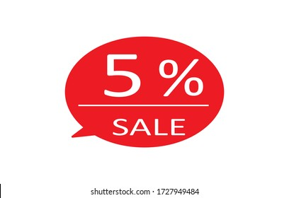 Special offer sale red tag isolated vector illustration. Discount offer price label,symbol for advertising campaign in retail, sale promo marketing,5% off discount sticker,5% off discount promotion.