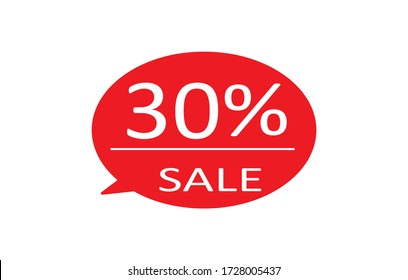 Special offer sale red tag isolated vector illustration. Discount offer price label,symbol for advertising campaign in retail, sale promo marketing,30% off discount sticker,30% off discount promotion.