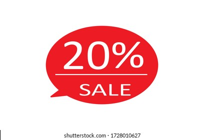Special offer sale red tag isolated vector illustration. Discount offer price label,symbol for advertising campaign in retail, sale promo marketing,20% off discount sticker,20% off discount promotion.