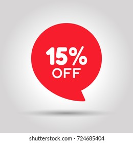 Special offer sale red tag. This is the concept of the price list for discounts, of an advertising campaign, advertising marketing sales, a 15% off discount, a unique offer. Vector illustration.