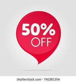 Special offer sale red tag isolated vector illustration. Discount offer price label, symbol for advertising campaign in retail, sale promo marketing, fifty percent off discount sticker