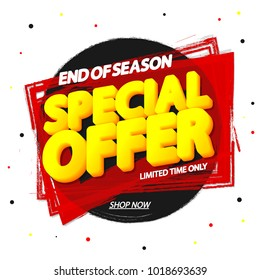 Special Offer, sale tag, banner design template, end of season, discount app icon, vector illustration