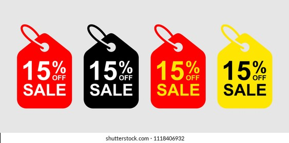 Special offer sale tag discount. 15% OFF Sale Discount Banner. Special offer price signs. Sale Red Tag Isolated Vector Illustration.