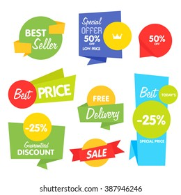 Special offer sale tag discount symbol retail sticker sign price isolated modern graphic style vector. Best seller and exclusive offer tag. Sale badges with different promo offer.