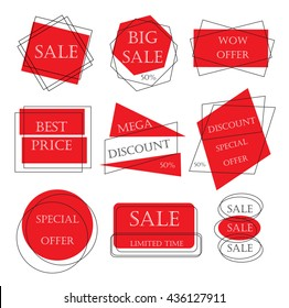 Special offer sale tag discount retail sticker price bundle isolated on white background