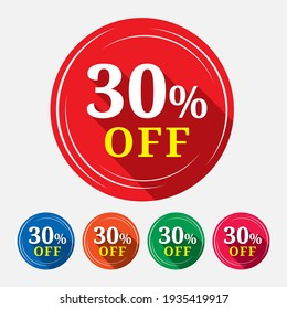 Special offer sale tag isolated with 30% in white background. 30% off discount tag, label, symbol, sticker  for advertising campaign in retail on shopping day.