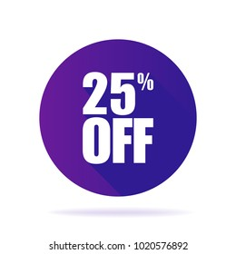 Special offer sale ultraviolet tag isolated vector illustration. Discount price label, symbol for advertising campaign in retail, promo marketing, 25 off sticker, ad offer on shopping day vector