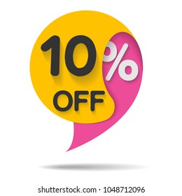 Special offer sale, vector illustration. Discount offer price label, symbol for advertising campaign in retail, sale promo marketing, 10% off discount sticker, ad offer on shopping day