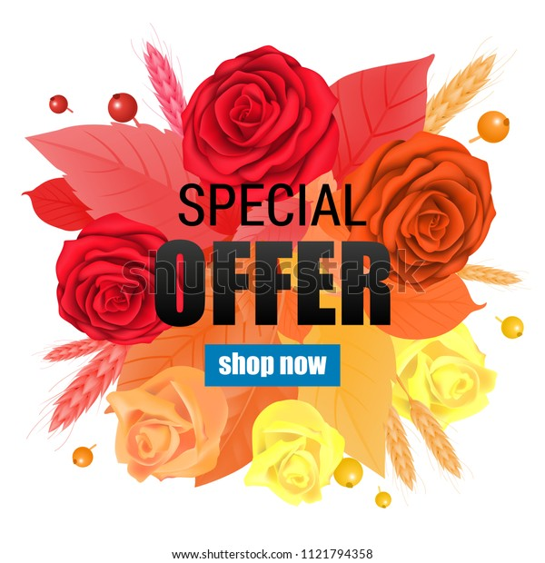 Special offer Shop now lettering with gradient roses and leaves. Creative inscription with bright flowers and plants. Illustration with lettering can be used for banner, posters and leaflets