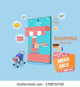 Special offer shopping online concept for flat design, online trading for web page, website, template and background, vector illustration about shopping online