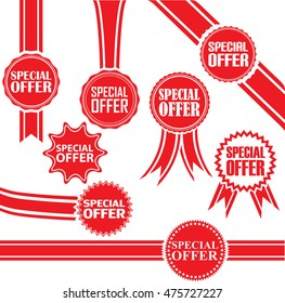 Special offer signs set, special offer sticker set, vector illustration