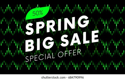 Special offer spring big sale text banner on musical dark background. Vector illustration.