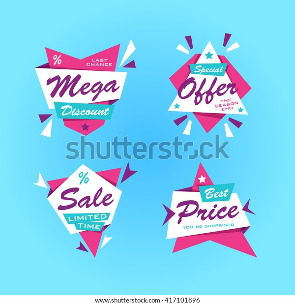 Special offer sticker sale. Promotion tag sale. Price labels. Sale limited offer banner set. Advertisement sale template. Limited discount. Vector creative design EPS.