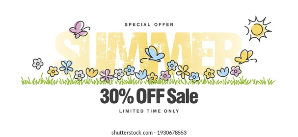 Special offer Summer Sale 30 % off with colorful spring flowers butterflies tulips in grass isolated white background